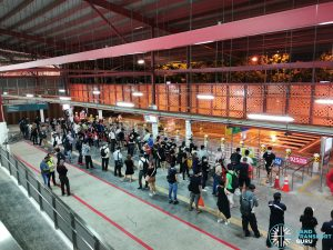 Crowd Level at Woodlands Temp Int during MRT Disruption on 14 Oct 2020
