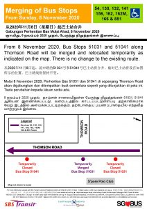SBS Transit Merging of Bus Stops Poster for Bus Services 54, 130, 132, 141, 156, 162, 162M, 166 & 851
