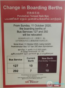Change in Boarding Berths at Tampines Int wef 11 Oct 2020