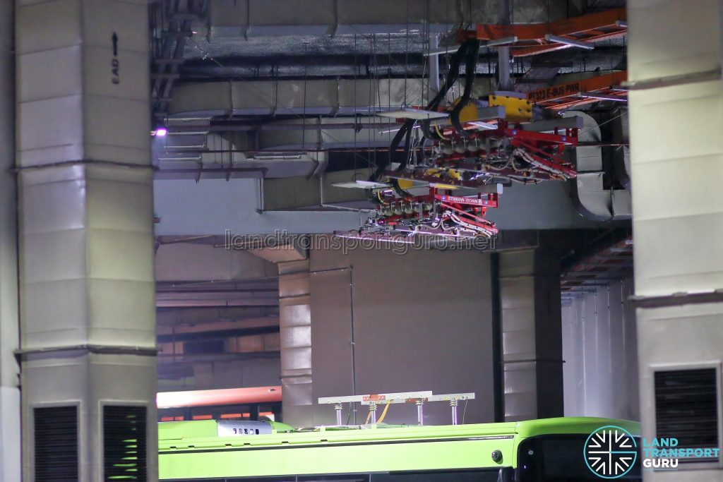 Overhead Pantograph Charger at Bedok Integrated Transport Hub (Oct 2020)