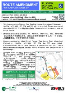 Relocation of Jurong East Bus Interchange - Route Amendment for Bus Services 41, 98/98M, 143/143M, 183, 334 & 335