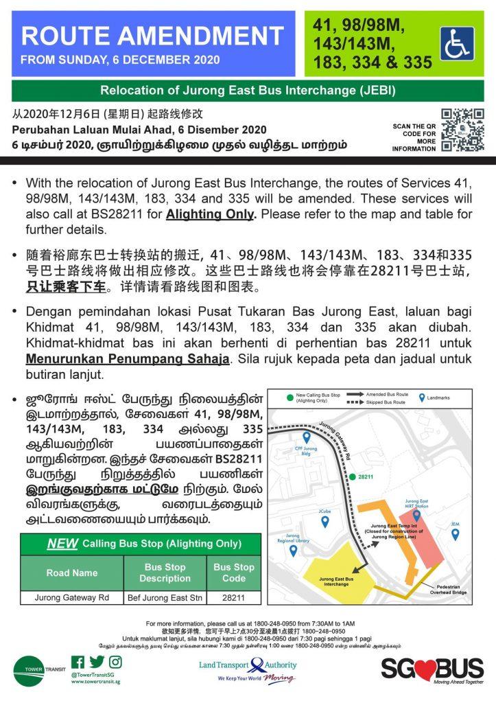 Relocation of Jurong East Bus Interchange - Route Amendment for Bus Services 41, 98/98M, 143/143M, 183, 334 & 335