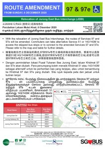 Relocation of Jurong East Bus Interchange - Route Amendment for Bus Services 97, 97e