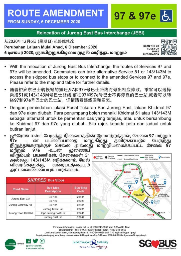 Relocation of Jurong East Bus Interchange - Route Amendment for Bus Services 97, 97e