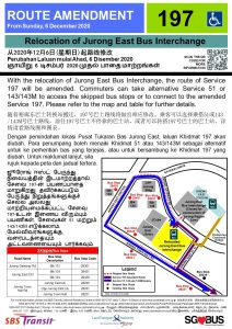 Relocation of Jurong East Bus Interchange - Route Amendment for Bus Service 197