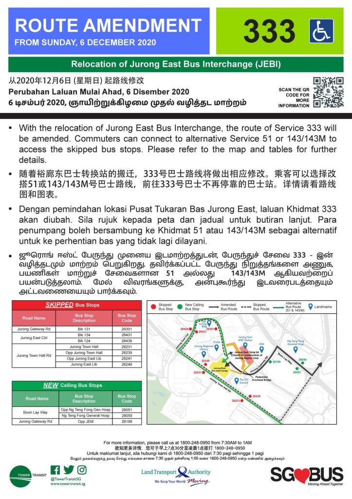 Relocation of Jurong East Bus Interchange - Route Amendment for Bus Service 333