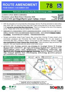 Relocation of Jurong East Bus Interchange - Route Amendment for Bus Service 78
