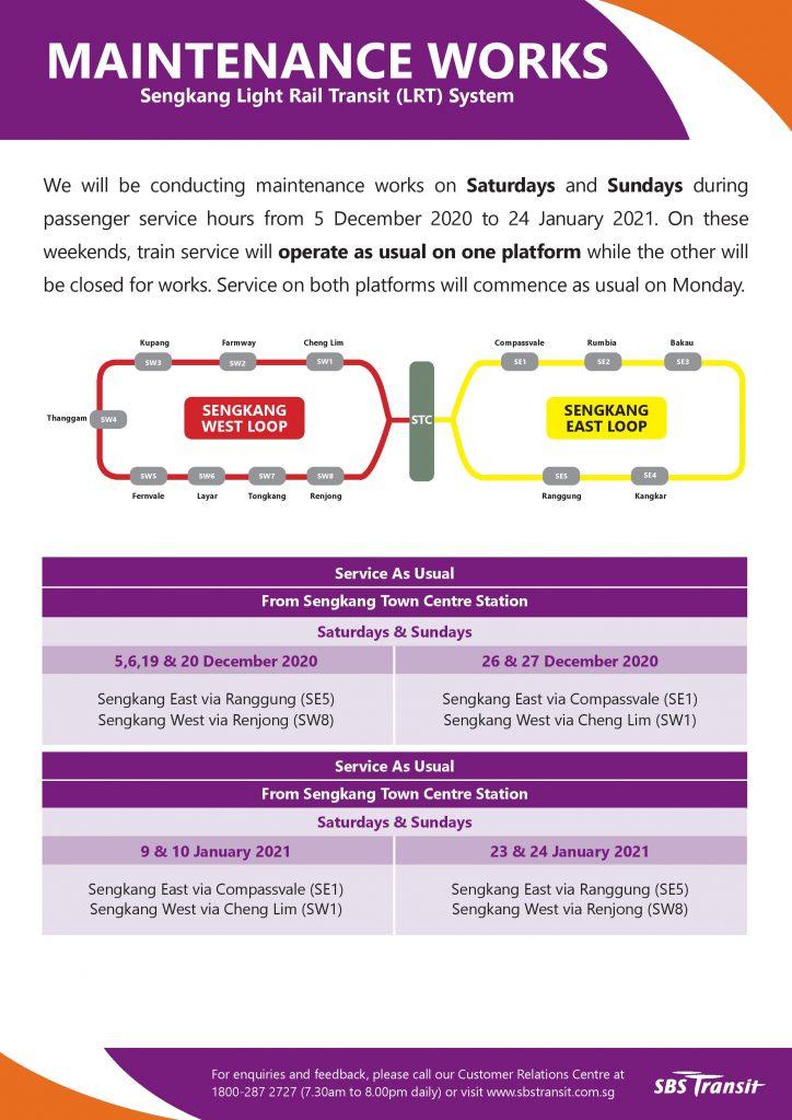 Sengkang LRT Maintenance Works (Dec 2020 - Jan 2021)