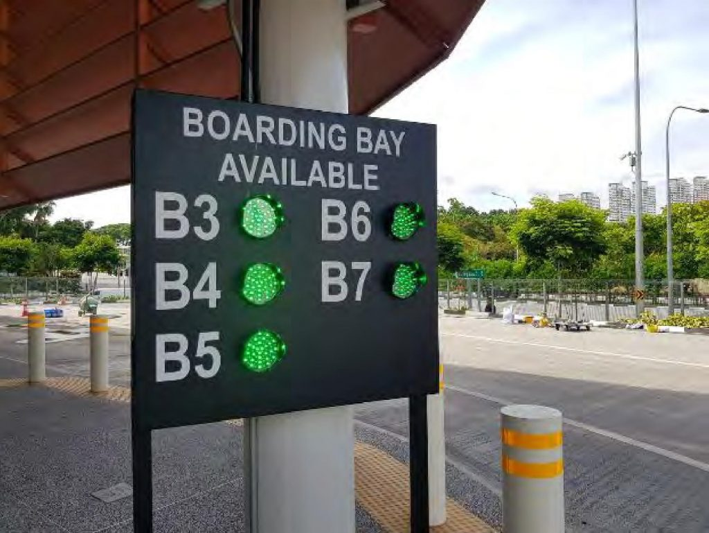 Bus Berth Availability System at Relocated Jurong East Bus Interchange (Image: Land Transport Authority)