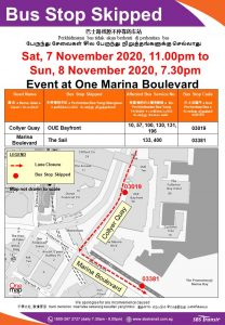 SBS Transit Poster for Bus Stops Skipped due to Event at One Marina Boulevard