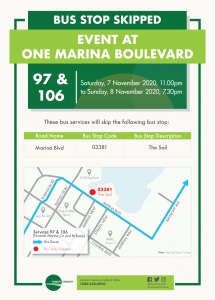 Tower Transit Poster for Bus Stop Skipped due to Event at One Marina Boulevard