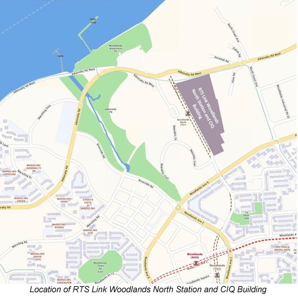 Location Map of RTS Link Woodlands North Station & CIQ Building (Image: LTA)