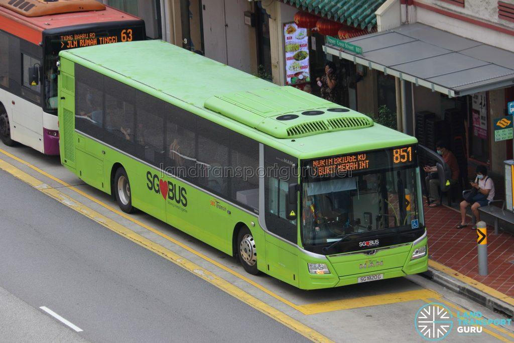 Bus 851 - SBS Transit MAN A22 Euro 6 (SG1820G)