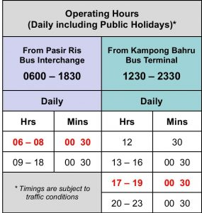 Departure Timings for Express 12e from 4 January 2021
