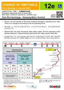 Go-Ahead Singapore Change in Timetable Poster for Express 12e