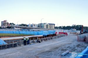 Hougang Temporary Bus Parking and Driver Facility: View from HG Ave 4 (Mar 2021)