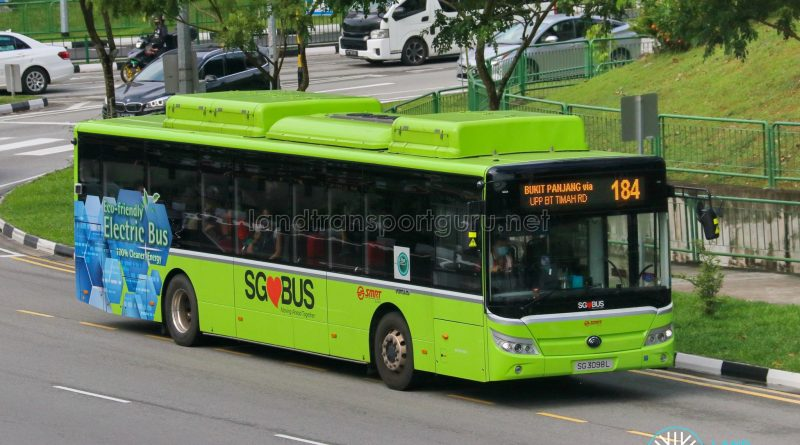 Bus 184 - SMRT Buses Yutong E12 (SG3098L)