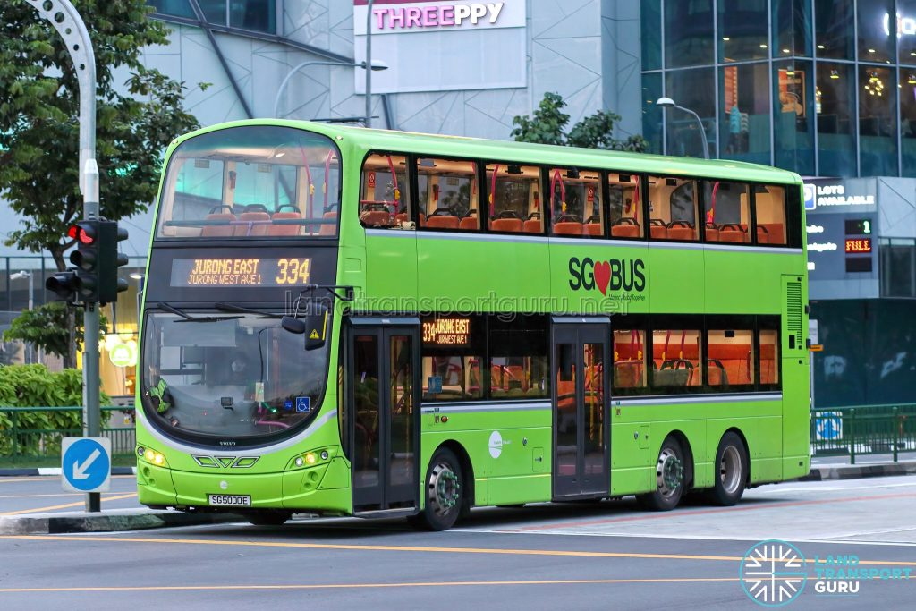 Bus 334 - Tower Transit Volvo B9TL Wright (SG5000E)