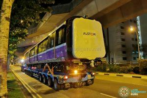 Alstom Metropolis C851E on delivery to Sengkang Depot