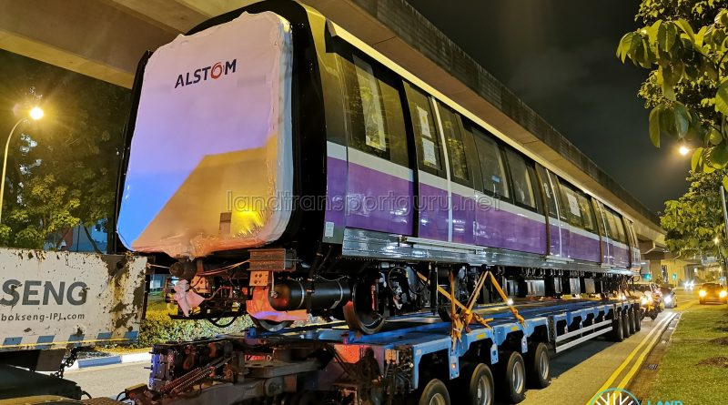Alstom Metropolis C851E on delivery to Sengkang Depot
