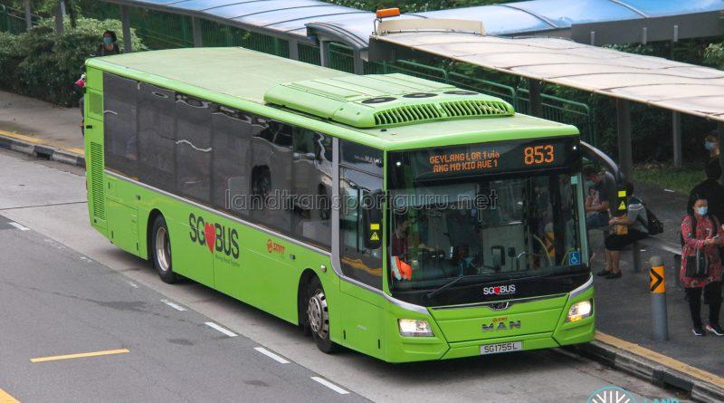 Bus 853 - SMRT Buses MAN A22 Euro 6 (SG1755L)