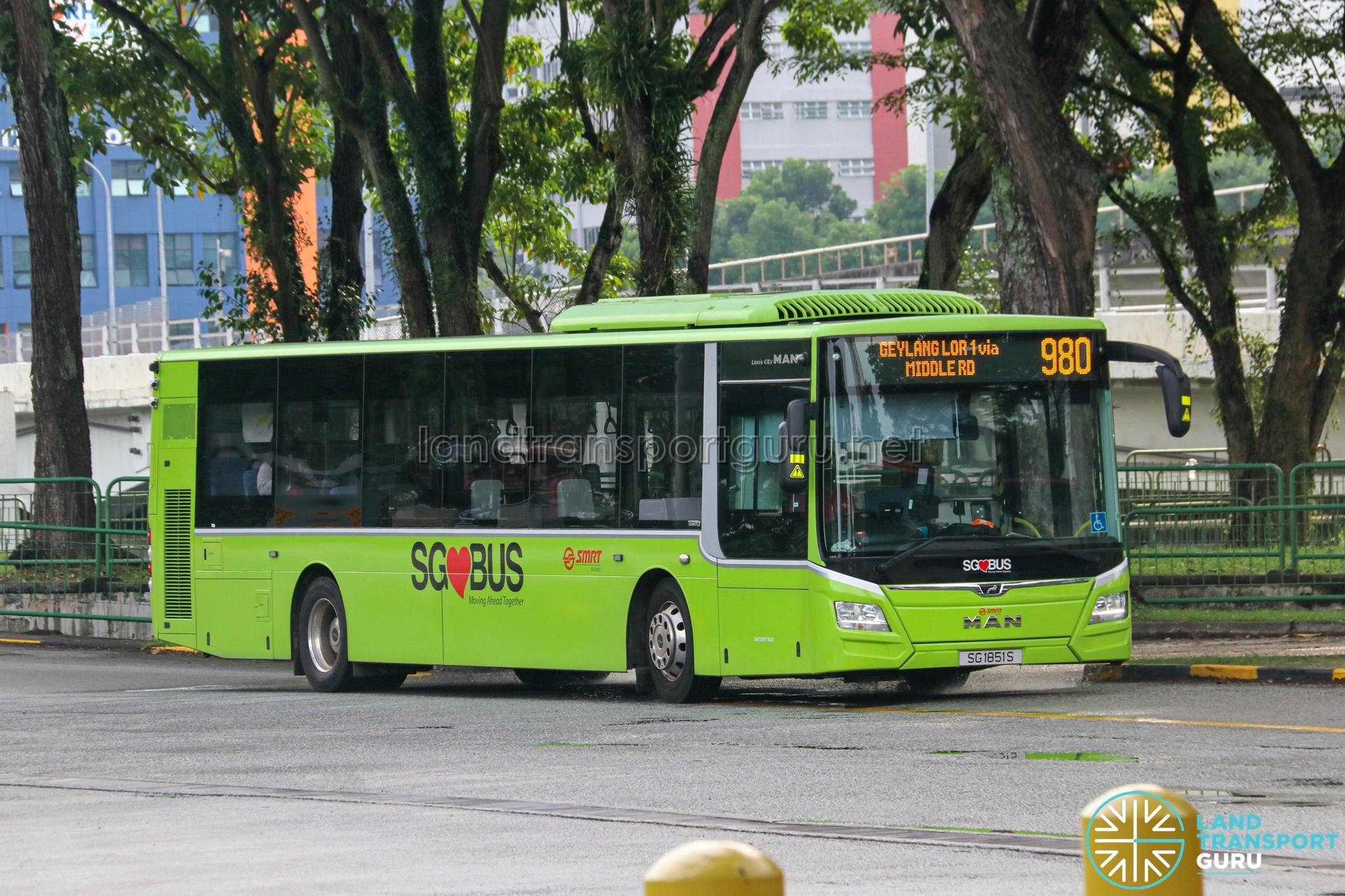 Bus 980 - SBS Transit MAN A22 Euro 6 (SG1851S)