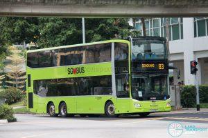 Bus 83: Go-Ahead Singapore MAN Lion's City A95 3DS (SG6298G)